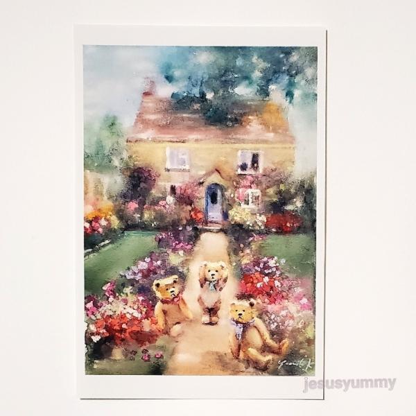 「おしゃべりなクマ達」 Yumi Kohnoura作 オリジナル・ポストカード 絵はがき 葉書 絵画 クマ テディベア イギリス イングランド 花 風景