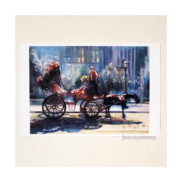 「プリンセスが乗る馬車」 Yumi Kohnoura作 オリジナル・ポストカード 絵はがき 葉書 絵画 ニューヨーク セントラルパーク アメリカ 馬車 花 風景