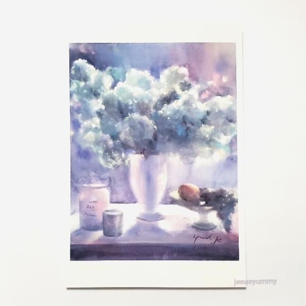 「そよ風の贈り物」 Yumi Kohnoura作 オリジナル・ポストカード 絵はがき 葉書 絵画 オオデマリ 花 静物画