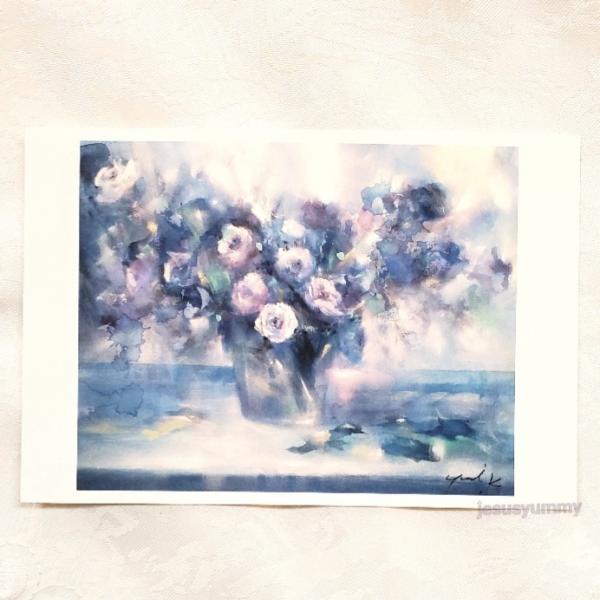 「清光」 Yumi Kohnoura作 オリジナル・ポストカード 絵はがき 葉書 絵画 薔薇 バラ ブルー 青 花 静物画