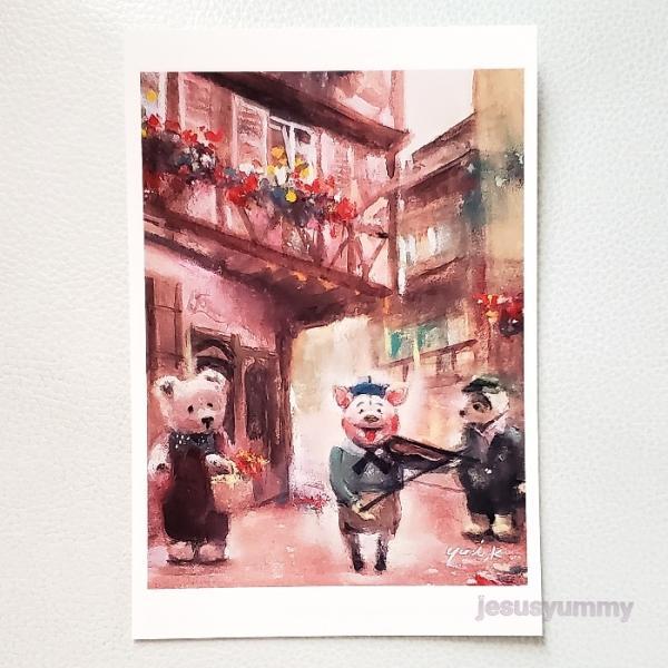 「Marching in Colmar」 Yumi Kohnoura作 オリジナル・ポストカード 絵はがき 葉書 絵画 クマ テディベア 子ブタ コルマール フランス アルザス ド