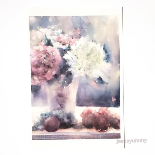 「再会の日に…」 Yumi Kohnoura作 オリジナル・ポストカード 絵はがき 葉書 絵画 紫陽花 あじさい ブルー パープル 花 静物画