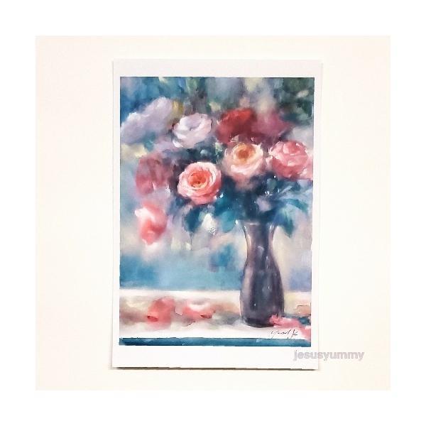 「夢の狭間で…」 Yumi Kohnoura作 オリジナル・ポストカード 絵はがき 葉書 絵画 薔薇 バラ 花 静物画