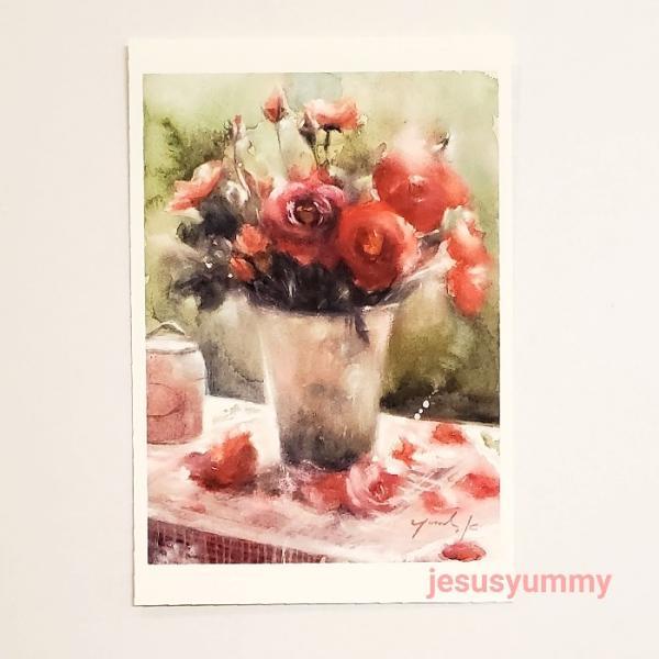 「When I Fall in Love」 Yumi Kohnoura作 オリジナル・ポストカード 絵はがき 葉書 絵画 薔薇 バラ 花 静物画