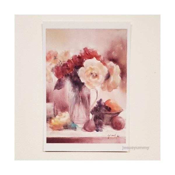 「花のワルツ」 Yumi Kohnoura作 オリジナル・ポストカード 絵はがき 葉書 絵画 薔薇 バラ 花 フルーツ 静物画