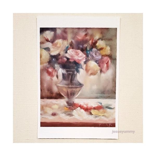 「Sustainable Beauty」 Yumi Kohnoura作 オリジナル・ポストカード 絵はがき 葉書 絵画 薔薇 バラ 花 静物画