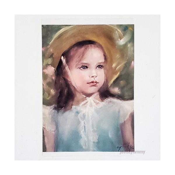 「未来をつかまえに」 Yumi Kohnoura作 オリジナル・ポストカード 絵はがき 葉書 絵画 人物画 少女 花