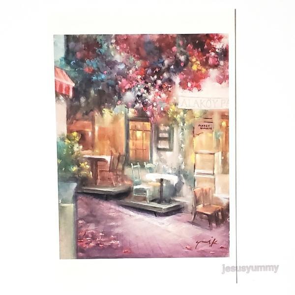 「坂道のレストラン」 Yumi Kohnoura作 オリジナル・ポストカード 絵はがき 葉書 絵画 レストラン カフェ 花 風景画 トルコ