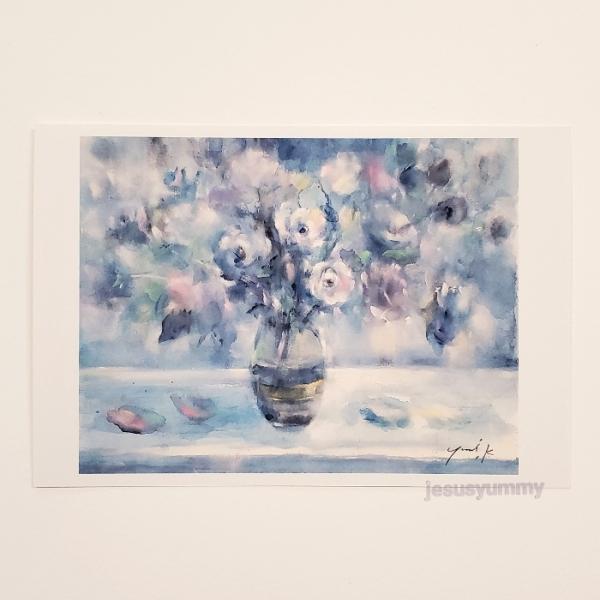 「月明かり」 Yumi Kohnoura作 オリジナル・ポストカード 絵はがき 葉書 絵画 薔薇 花 静物画 バラ ブルー 青