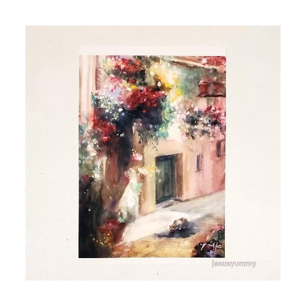 「ルークの水飲み場」 Yumi Kohnoura作 オリジナル・ポストカード 絵はがき 葉書 絵画 ネコ 猫 フランス 風景 花 ヨーロッパ