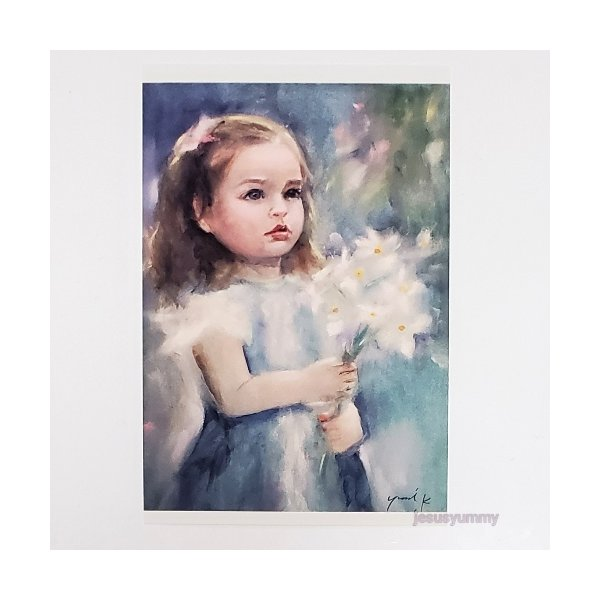 「To Mom」 Yumi Kohnoura作 オリジナル・ポストカード 絵はがき 葉書 絵画 人物画 少女 花