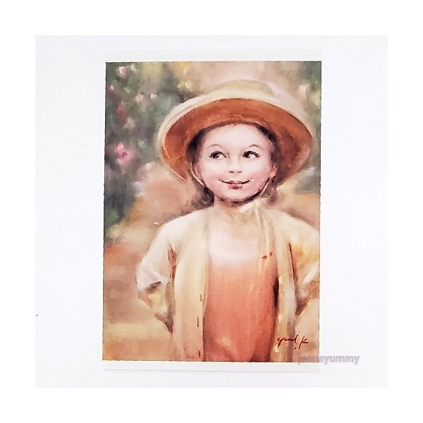 「帰り道」 Yumi Kohnoura作 オリジナル・ポストカード 絵はがき 葉書 絵画 人物画 少女 花