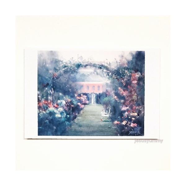 「Le Jardin Secret」 Yumi Kohnoura作 オリジナル・ポストカード 絵はがき 葉書 絵画 フランス ガーデン 花 風景 ル・ジャルダン・スクレ
