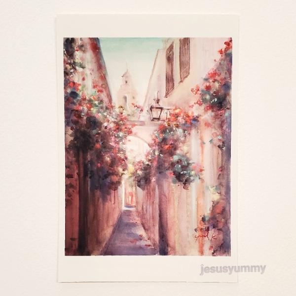 「鐘の鳴る小路」 Yumi Kohnoura作 オリジナル・ポストカード 絵はがき 葉書 絵画 スペイン 花 風景 風景画 教会