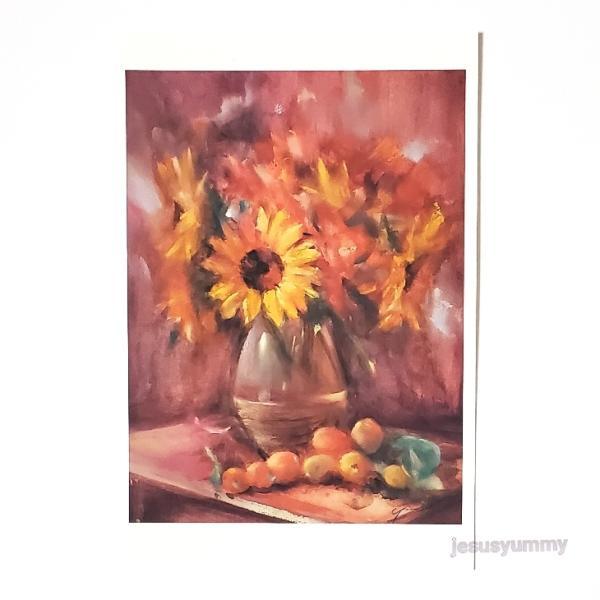 「笑顔を君に…」 Yumi Kohnoura作 オリジナル・ポストカード 絵はがき 葉書 絵画 花 ひまわり 向日葵 ヒマワリ フルーツ 琵琶 静物画
