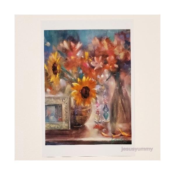「夏の日のテーブル」 Yumi Kohnoura作 オリジナル・ポストカード 絵はがき 葉書 絵画 花 ひまわり 向日葵 ヒマワリ 香水瓶 静物画