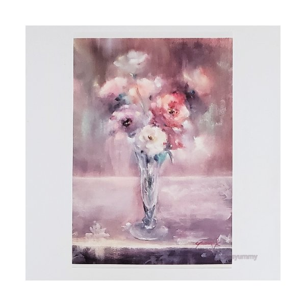 「残光」 Yumi Kohnoura作 オリジナル・ポストカード 絵はがき 葉書 絵画 花 トルコキキョウ ピンク 静物画
