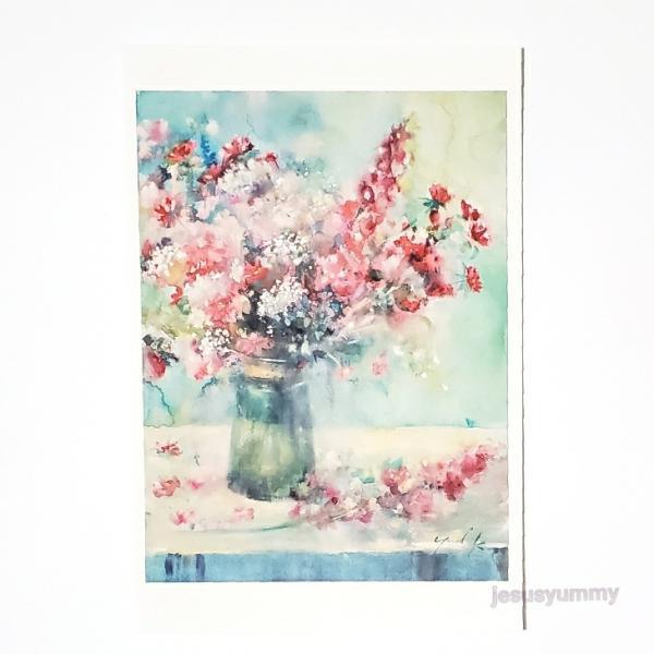 「Sweet Dreams」 Yumi Kohnoura作 オリジナル・ポストカード 絵はがき 葉書 絵画 花 アスター ラクスパー レースフラワー 静物画