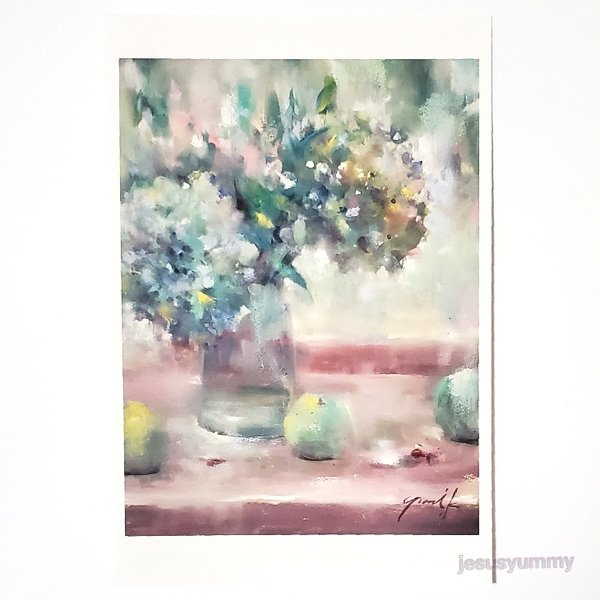 「Ripeness 〜 円熟」 Yumi Kohnoura作 オリジナル・ポストカード 絵はがき 葉書 絵画 花 秋色紫陽花 アジサイ フルーツ 静物画