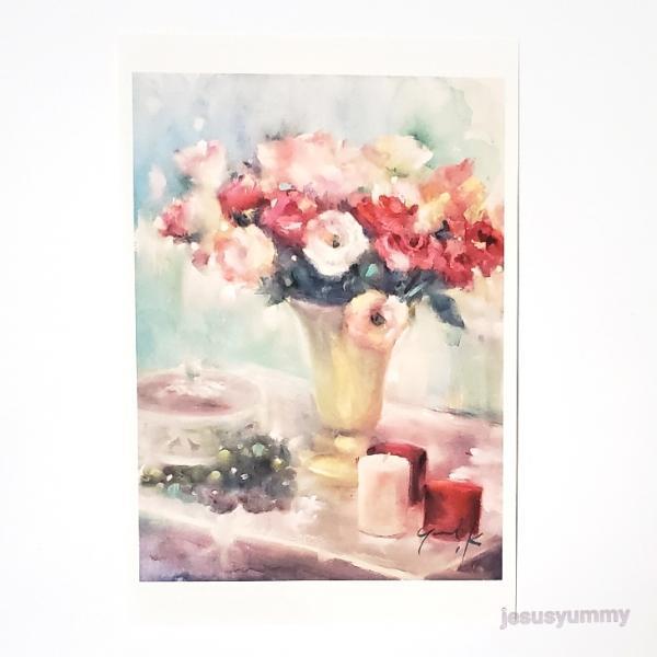 「Oasis」 Yumi Kohnoura作 オリジナル・ポストカード 絵はがき 葉書 絵画 花 薔薇 バラ トルコキキョウ 静物画