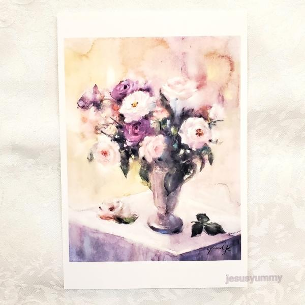 「Wishing your happiness」 Yumi Kohnoura作 オリジナル・ポストカード 絵はがき 葉書 絵画 バラ 薔薇 静物画 花