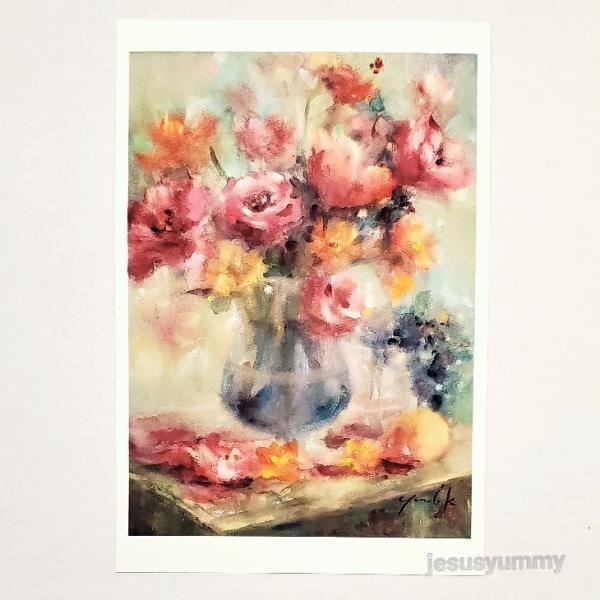 「愛を運ぶ花」 Yumi Kohnoura作 オリジナル・ポストカード 絵はがき 葉書 絵画 花 チューリップ トルコキキョウ フリージア 静物画