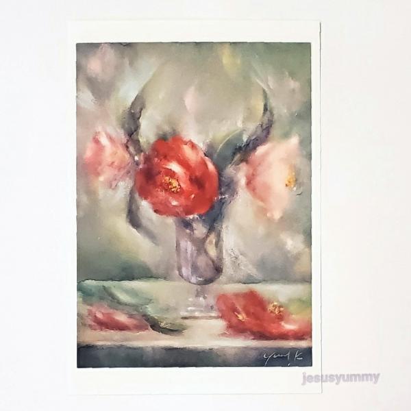 「愛を知る花」 Yumi Kohnoura作 オリジナル・ポストカード 絵はがき 葉書 絵画 花 椿 静物画