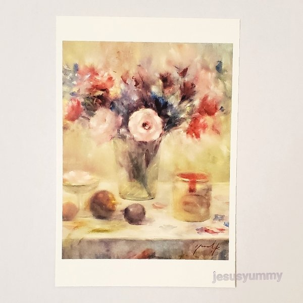 「変わらぬ想い」 Yumi Kohnoura作 オリジナル・ポストカード 絵はがき 葉書 絵画 花 トルコキキョウ バラ デルフィニウム アルストロメリア 薔薇