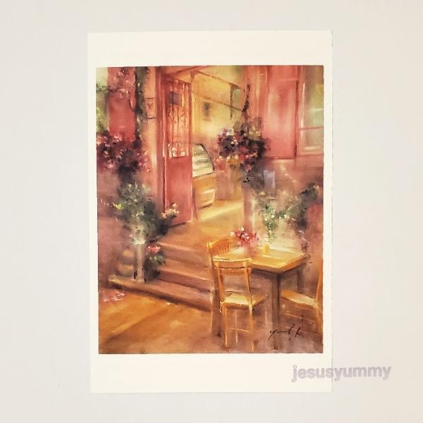 「特別な時間」 Yumi Kohnoura作 オリジナル・ポストカード 絵はがき 葉書 絵画 レストラン カフェ 花 風景画 トルコ