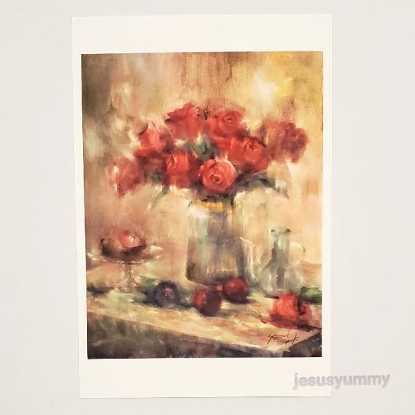 「Share happiness」 Yumi Kohnoura作 オリジナル・ポストカード 絵はがき 葉書 絵画 花 フルーツ 薔薇 バラ 静物画
