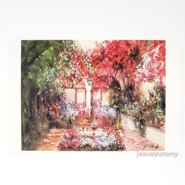 「Mariage」 水彩/パステル バージョン Yumi Kohnoura作 オリジナル・ポストカード 絵はがき 葉書 絵画 パティオ 花 中庭 風景画 スペイン コルド