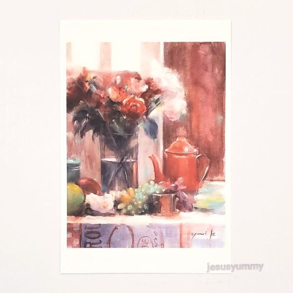 「Oriental Table」 Yumi Kohnoura作 オリジナル・ポストカード 絵はがき 葉書 絵画 花 フルーツ 薔薇 バラ 静物画