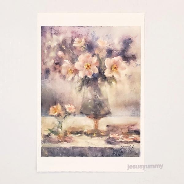 「Life's a gift !!」 Yumi Kohnoura作 オリジナル・ポストカード 絵はがき 葉書 絵画 花 芍薬 ジャーマンアイリス 静物画