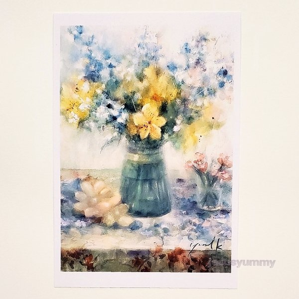 「Small Gift」 Yumi Kohnoura作 オリジナル・ポストカード 絵はがき 葉書 絵画 花 アルストロメリア ナデシコ デルフィニウム フルーツ 静物画