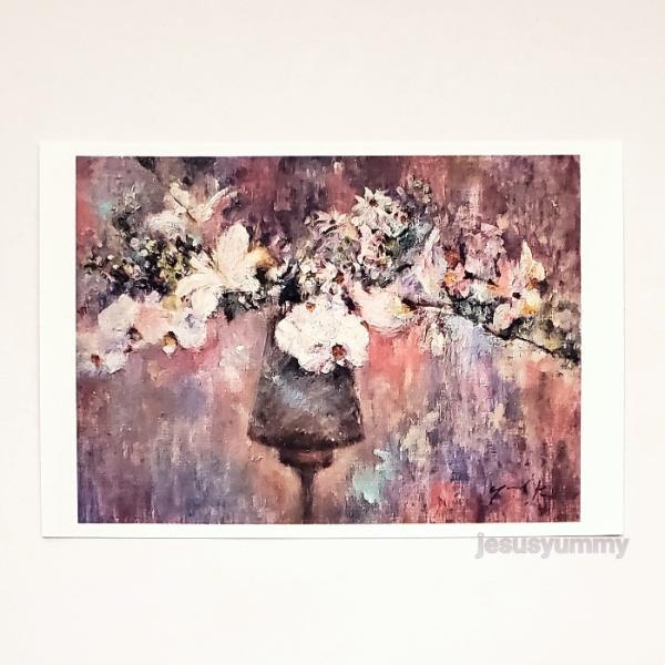 「Zephyr's Gift」 Yumi Kohnoura作 オリジナル・ポストカード 絵はがき 葉書 絵画 花 胡蝶蘭 フランネルフラワー 静物画