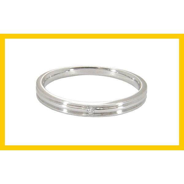 刻印無料 ペアリング2本セット マリッジリング結婚指輪 1粒ダイヤ0.01ct K10ホワイトゴールド K10WG