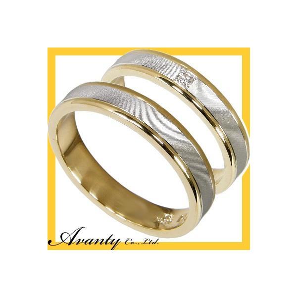 刻印無料 2本セット プラチナ900 K18 プラチナマリッジリング結婚指輪