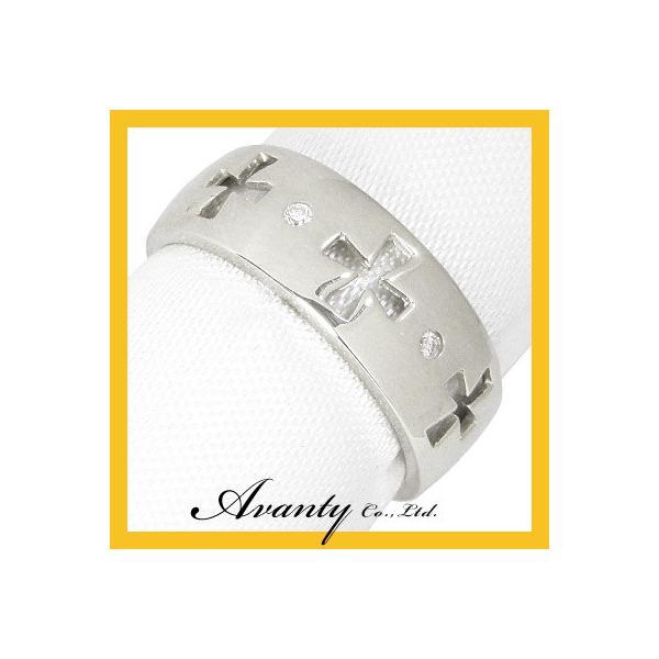 (K18ホワイトゴールド K18WG ダイヤモンド0.02ct)幅広クロスダイヤリング