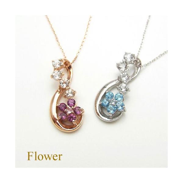 36b1fe831b5550 K10 ロードライトガーネット ネックレス フラワー ピンク ゴールド ピンクトルマリン ホワイトトパーズ 花 ループ jewelry ...