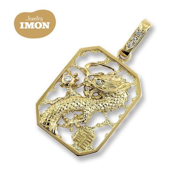 K18 龍ペンダント ダイヤ付 ペンダントトップ|jewelry-imon