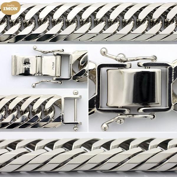 PT850 喜平 ブレスレット 8面 カット トリプル 100g 21cm|jewelry-imon|02
