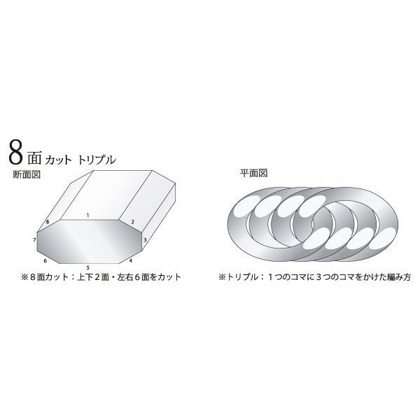 PT850 喜平 ブレスレット 8面 カット トリプル 100g 21cm|jewelry-imon|06