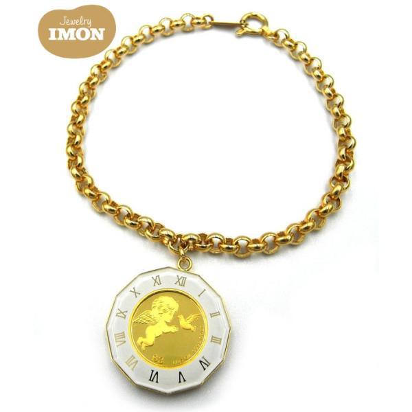 純金 K24 エンジェル コイン 1/25oz K18枠 ブレスレット ガラス付|jewelry-imon