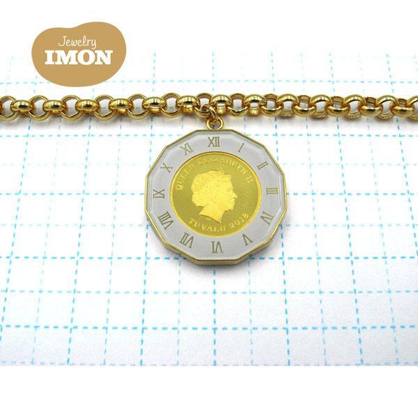 純金 K24 エンジェル コイン 1/25oz K18枠 ブレスレット ガラス付|jewelry-imon|02