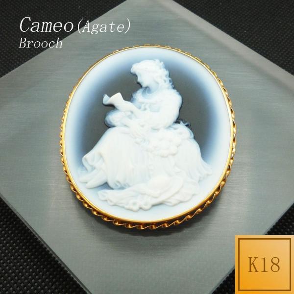 ブローチ カメオ メノウ ペンダント可 18金 K18