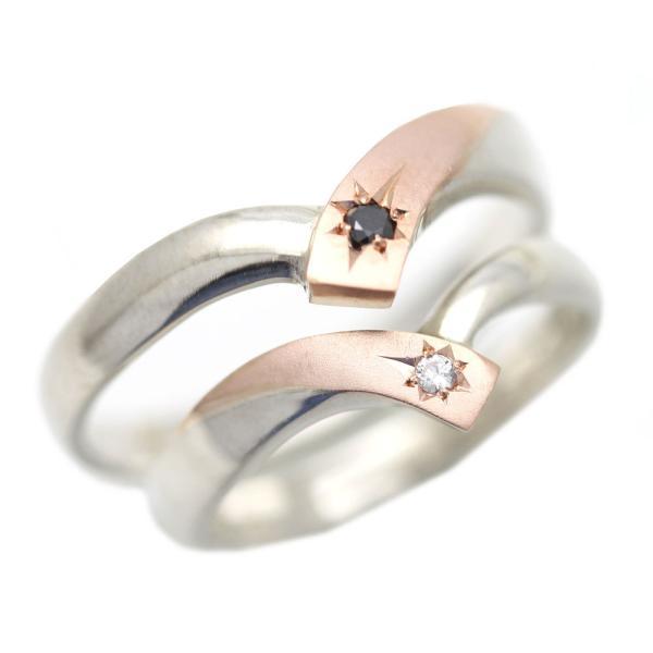 結婚指輪 コンビ プラチナ ゴールド PT900 K18PG 刻印無料 ペアリング ダイヤ 星留め V字