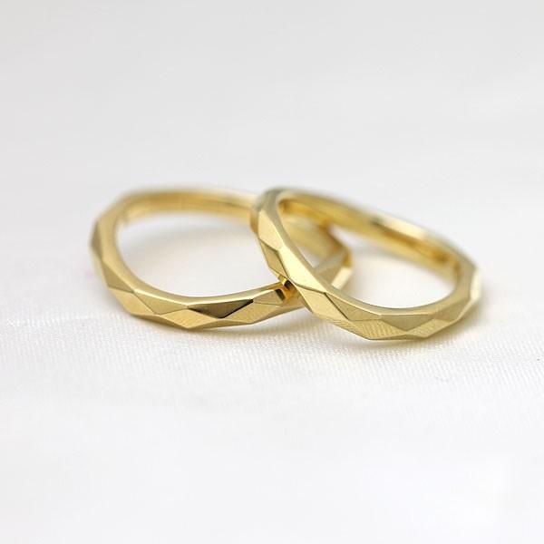 マリッジリング 結婚指輪 K18YG イエローゴールド ミラーカット ペアリング