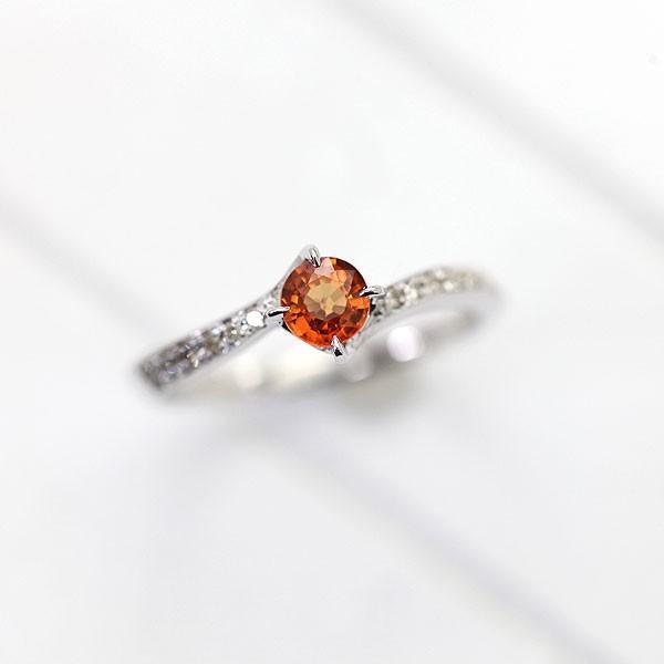 指輪 レディース リング K10WG ホワイトゴールド ダイヤモンド オレンジサファイア S字 ウェーブライン 女性 カラーストーン