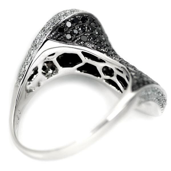 K18WG ブラック ダイヤモンド リング D1.30ct マイクロパヴェ定額商品