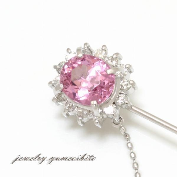 PT K14WG ピンクスピネル ダイヤモンド ピンブローチ